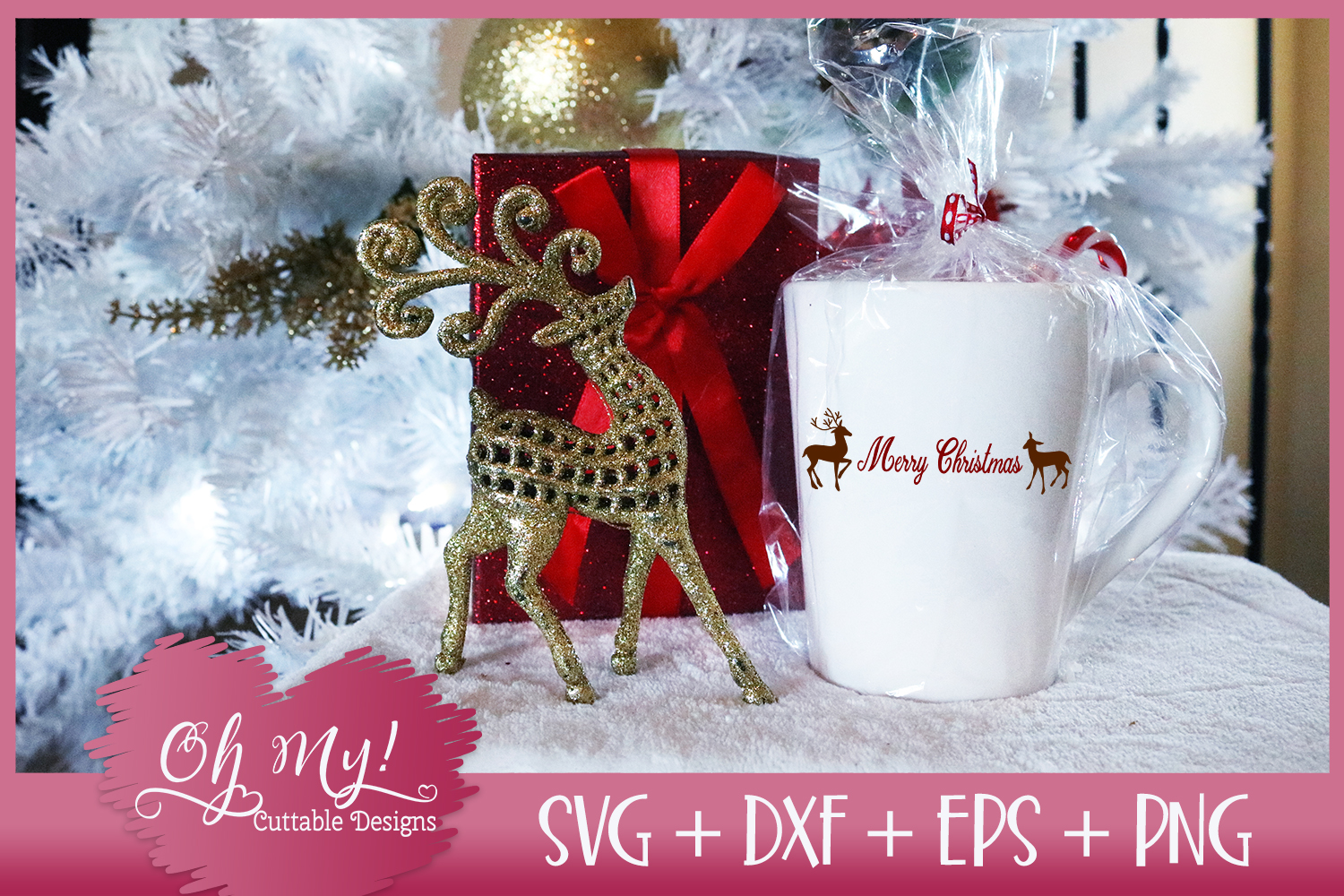 Merry Christmas Reindeer - SVG DXF EPS PNG example image 2