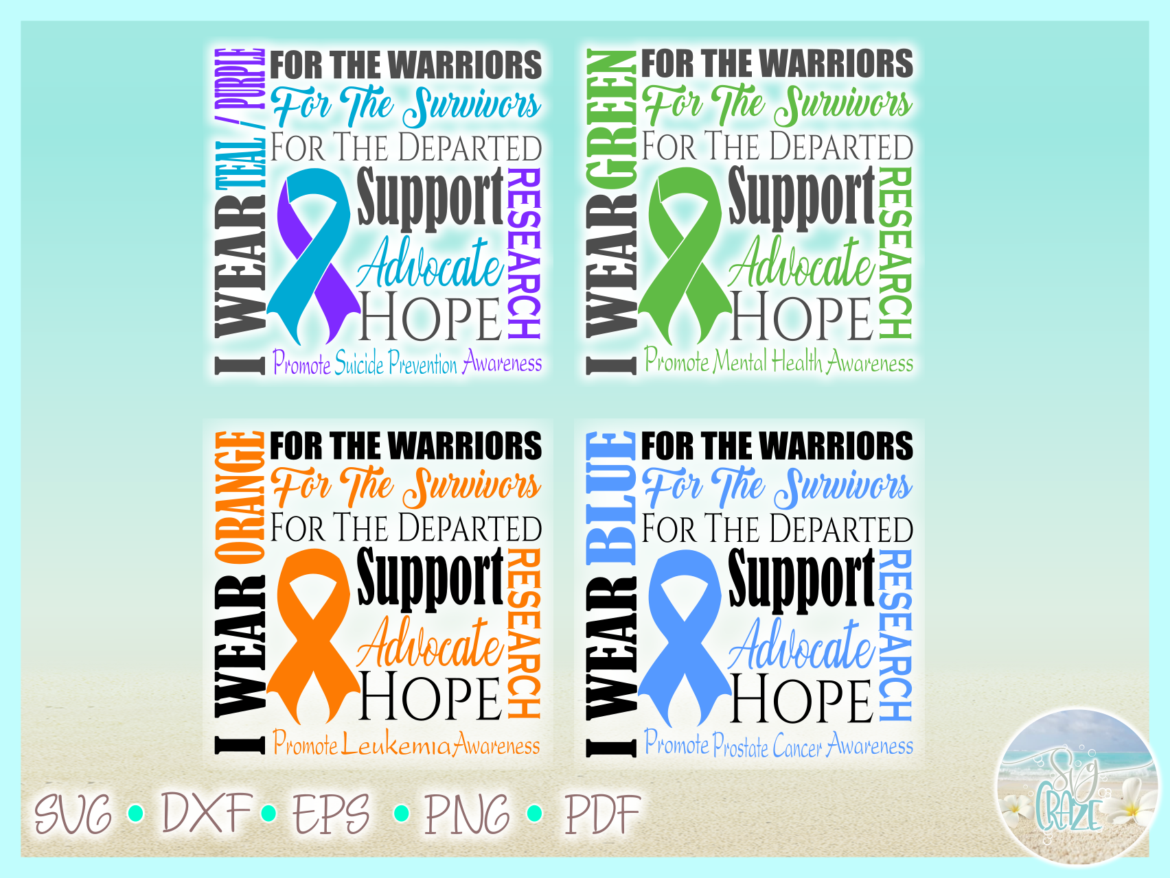 Awareness Ribbon Bundle SVG Dxf Eps Png files example image 7