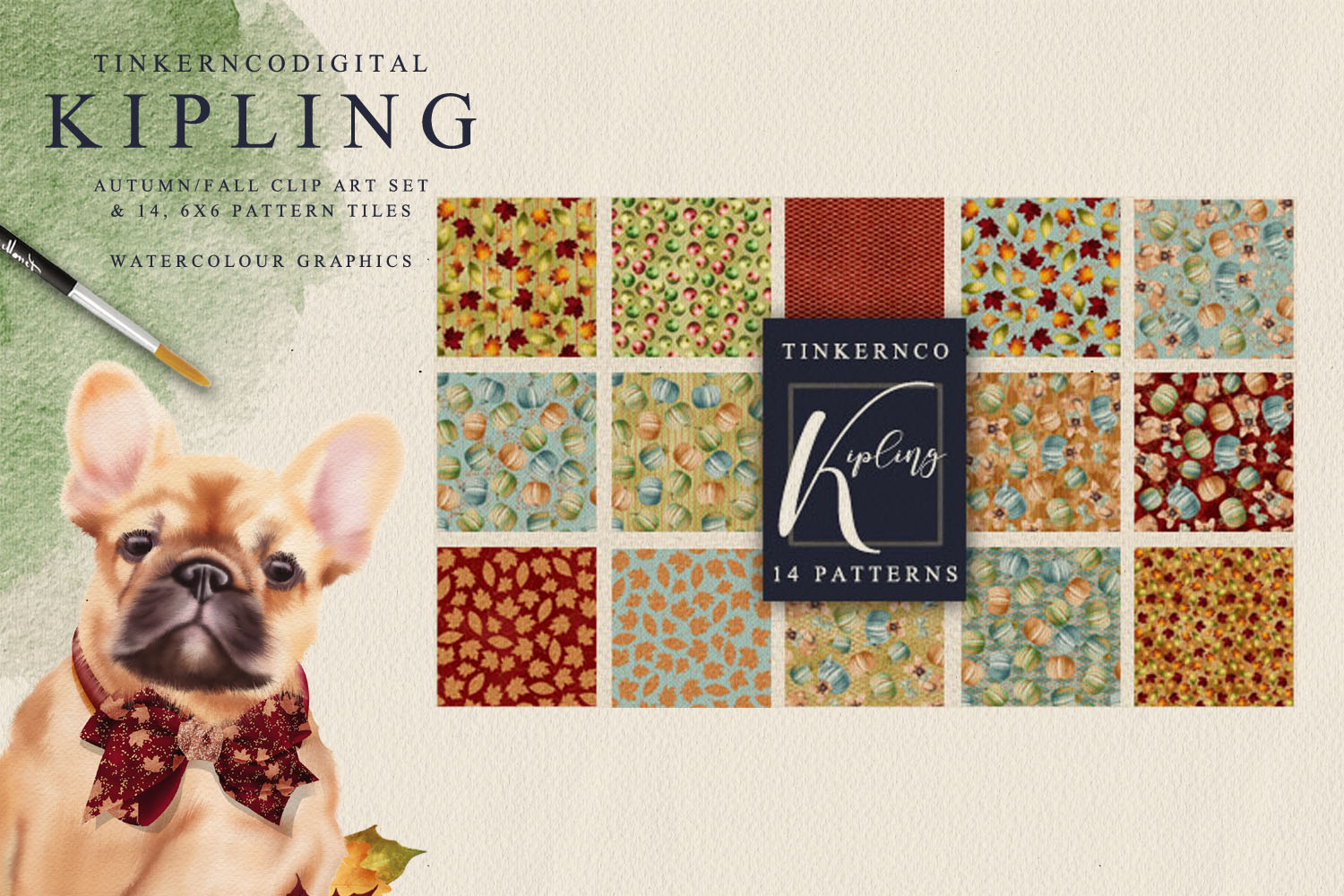 French Bulldog Clipart Pattern tiles example image 6