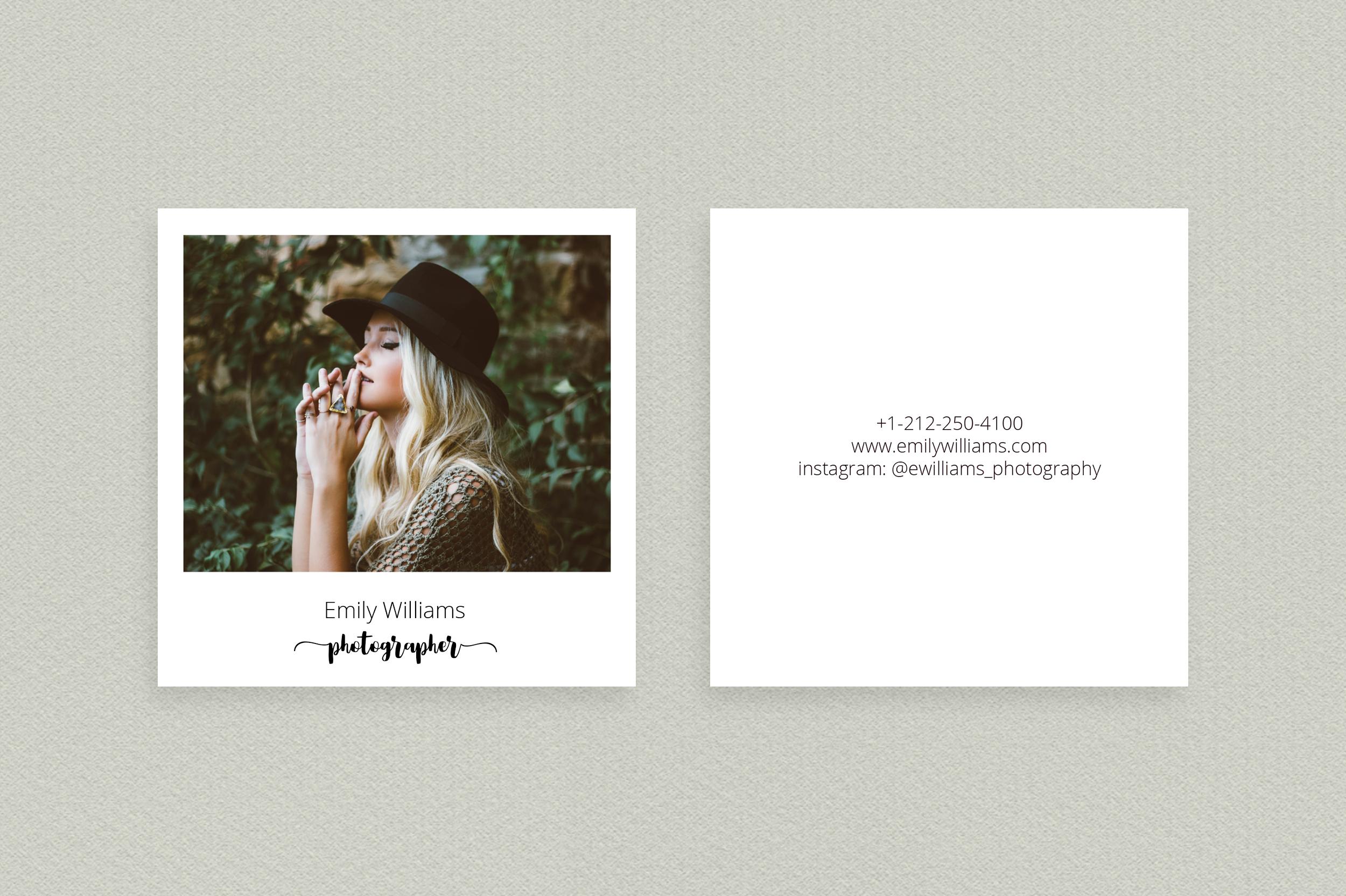 Square Polaroid Photographer Business Card example image 2