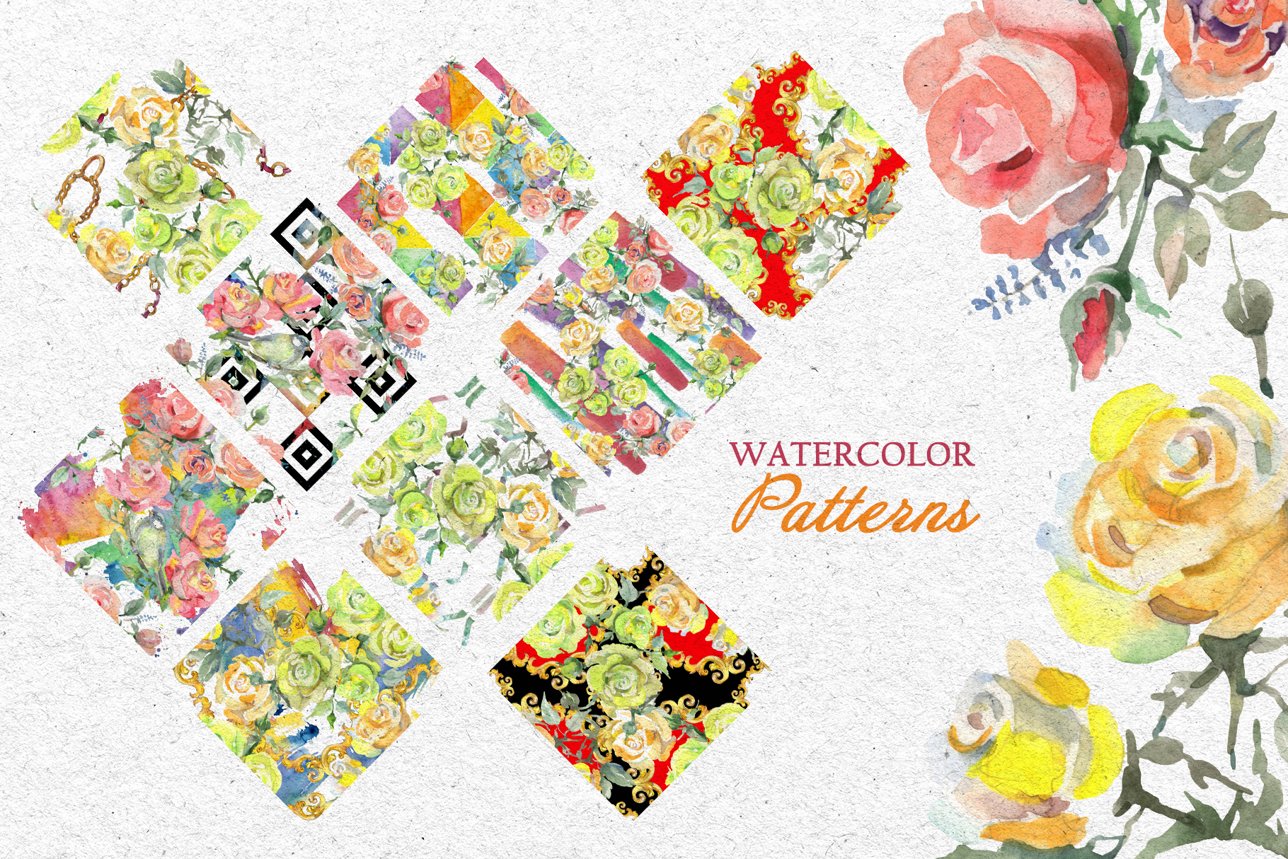 Bouquets with roses Yellow Watercolor png example image 4