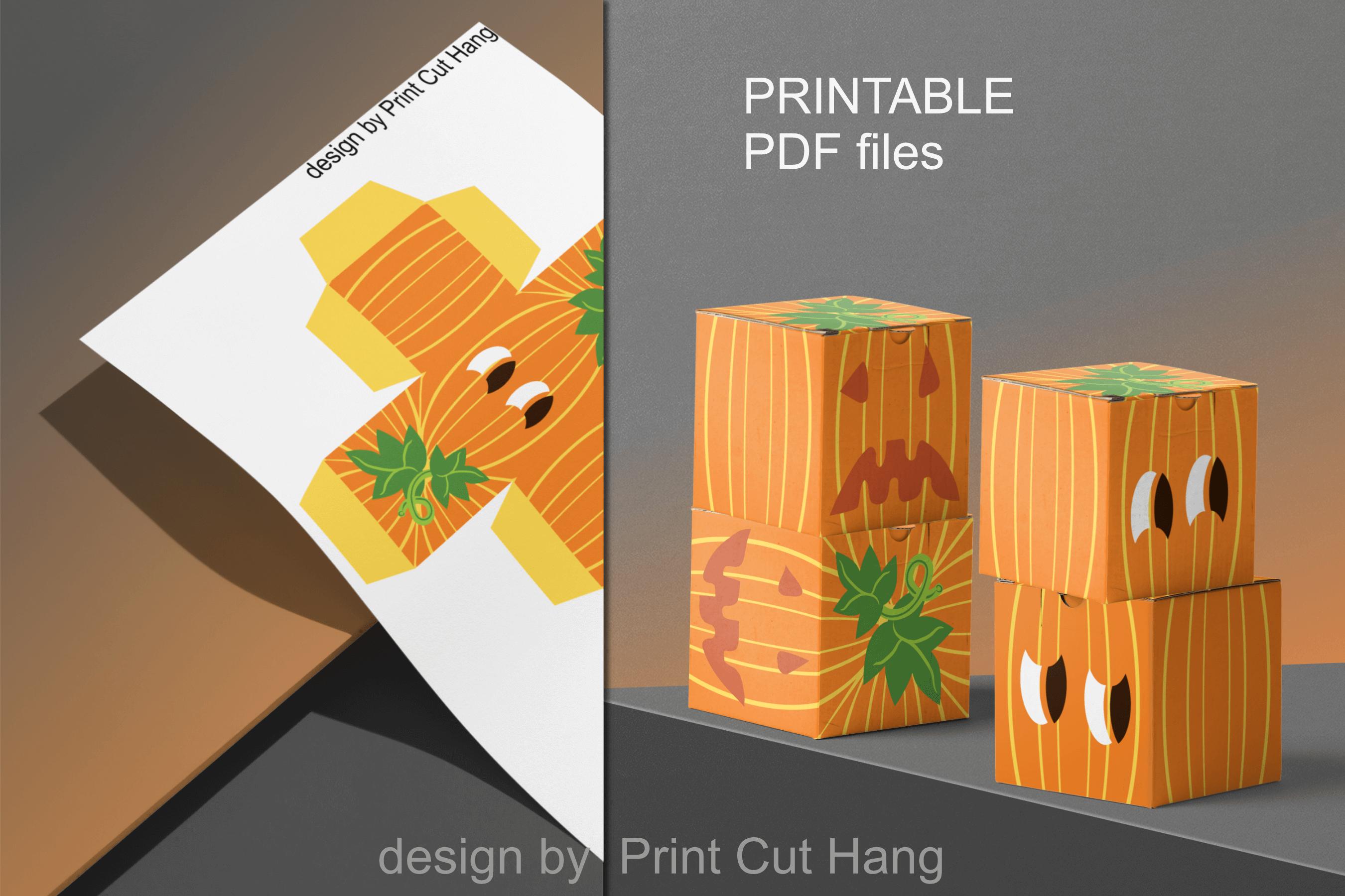 Pumpkins Treat Boxes Templates PDF files - 2 size - 2 style example image 8