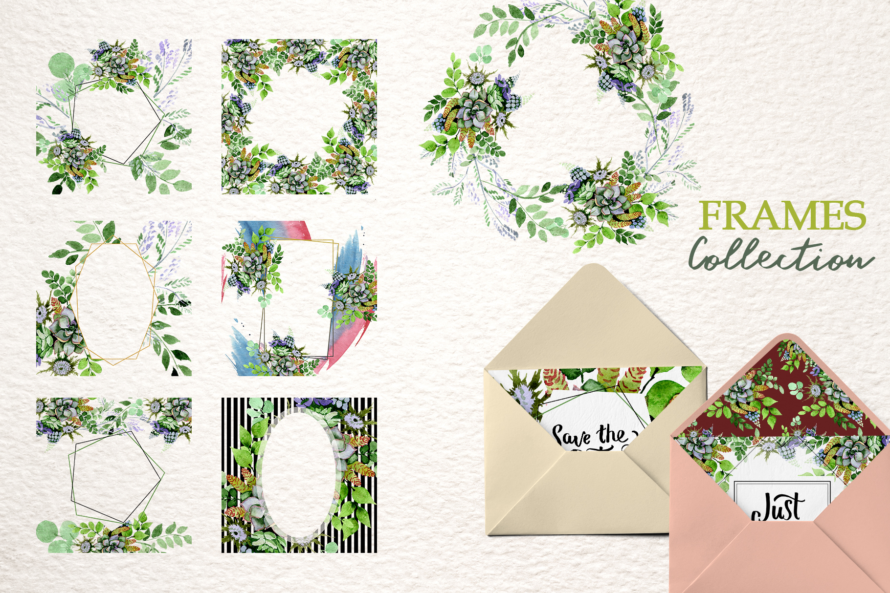 Bouquet with succulents Watercolor png example image 4