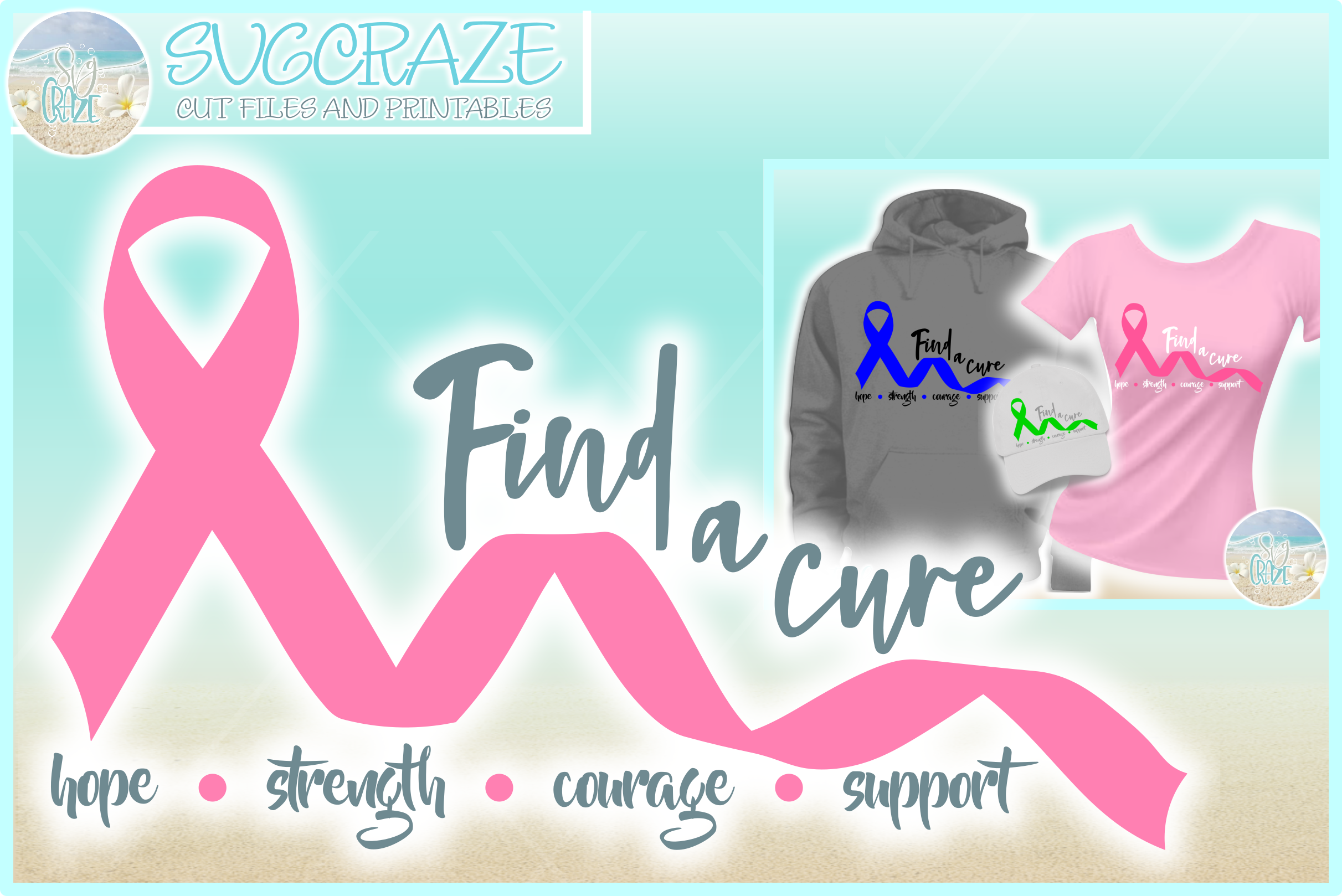 Find A Cure Quote One Color Ribbon SVG Dxf Eps Png PDF Files example image 1