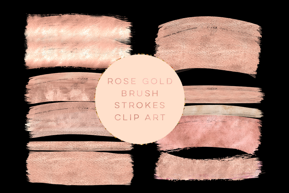 Rose gold brush strokes clipart, peach gold brush clip art, pink peach gold paint clip art, wedding peach gold Paint Clip art, winter gold example image 2
