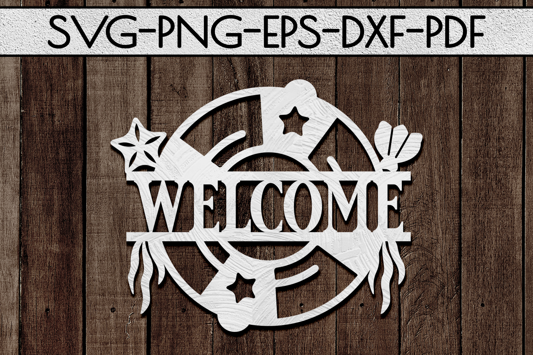 Welcome Sign Papercut Template, Beach House Decor, SVG, DXF example image 1