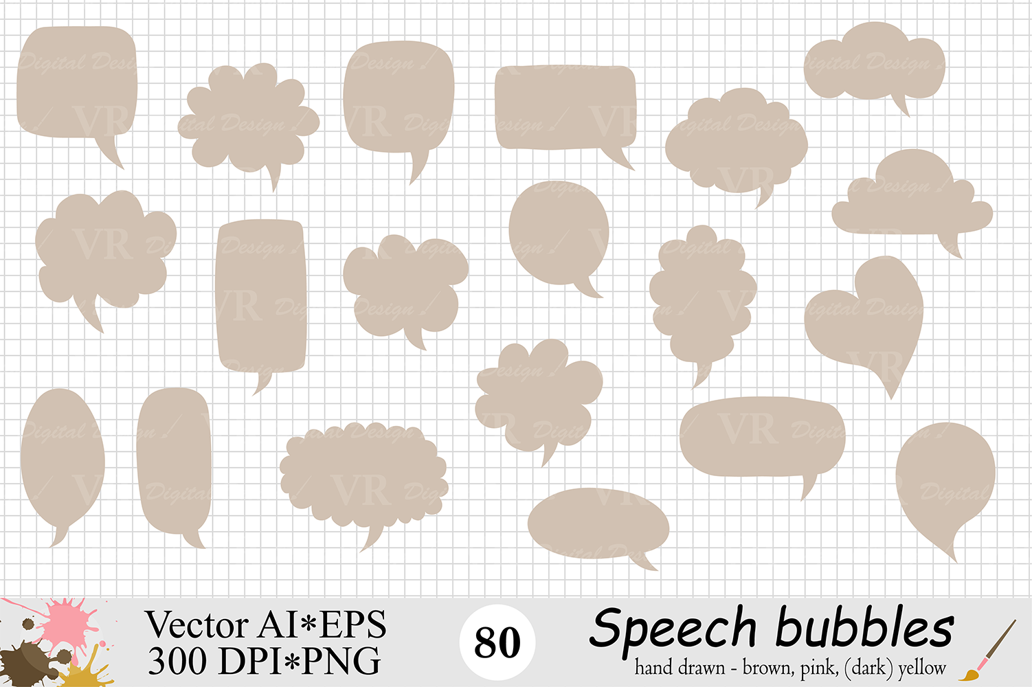 Speech Bubbles Clipart / Chat Bubbles / Hand drawn Text bubbles / Brown, Pink, Yellow - Vector example image 5