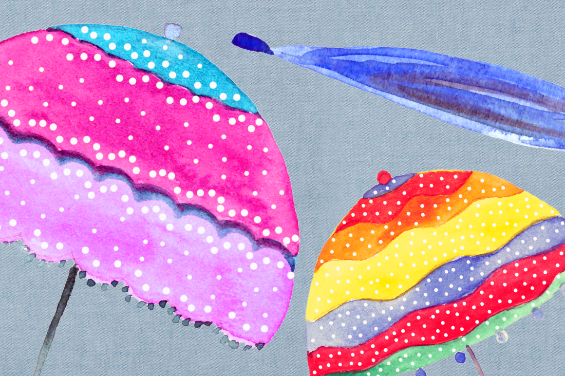 Bright in the Rain Watercolor Clipart Set example image 2