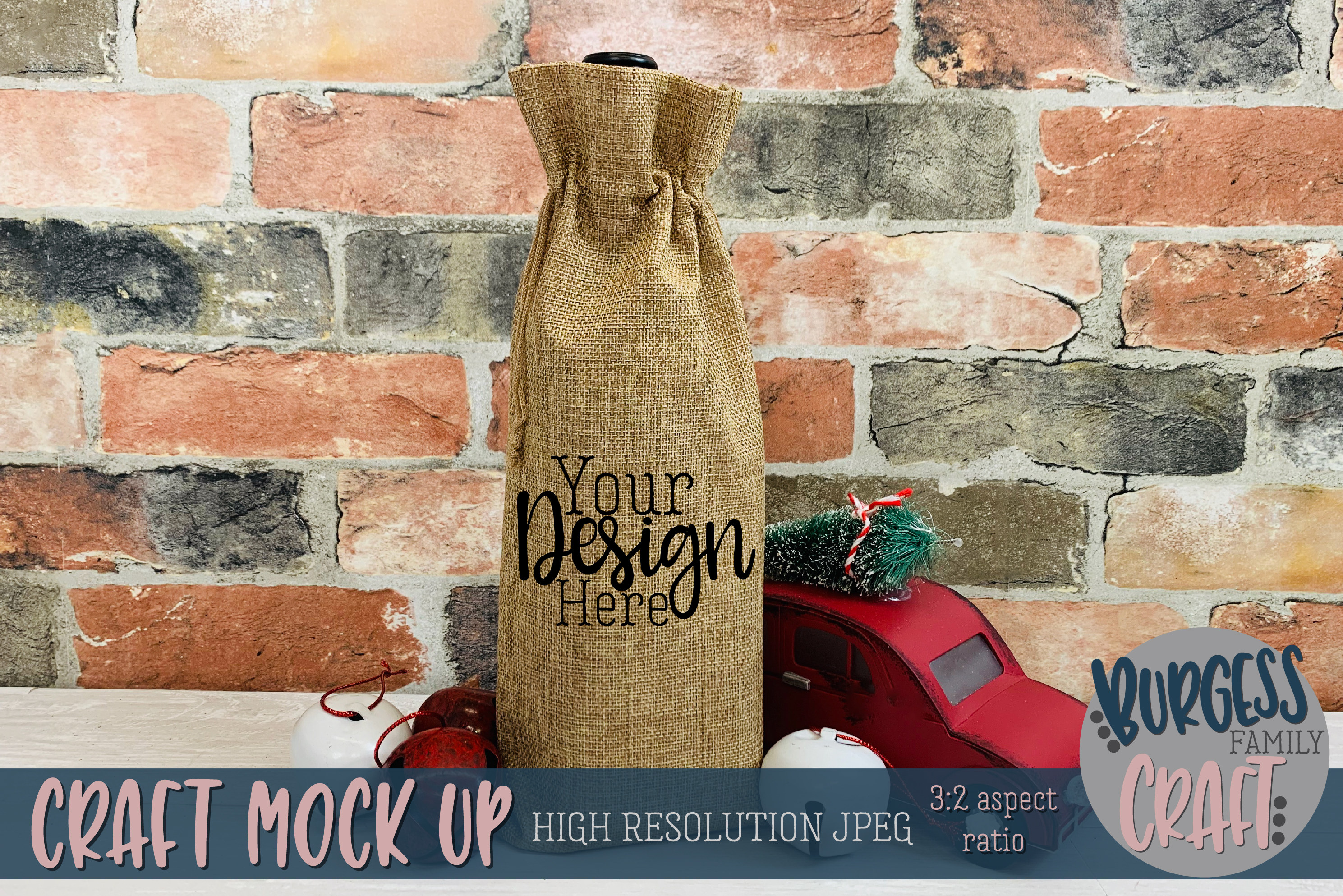 Christmas wine bag Craft mock up |High Res JPEG example image 1