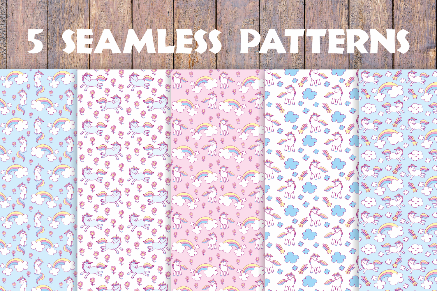Cute unicorns. Vector elements and patterns. example image 2