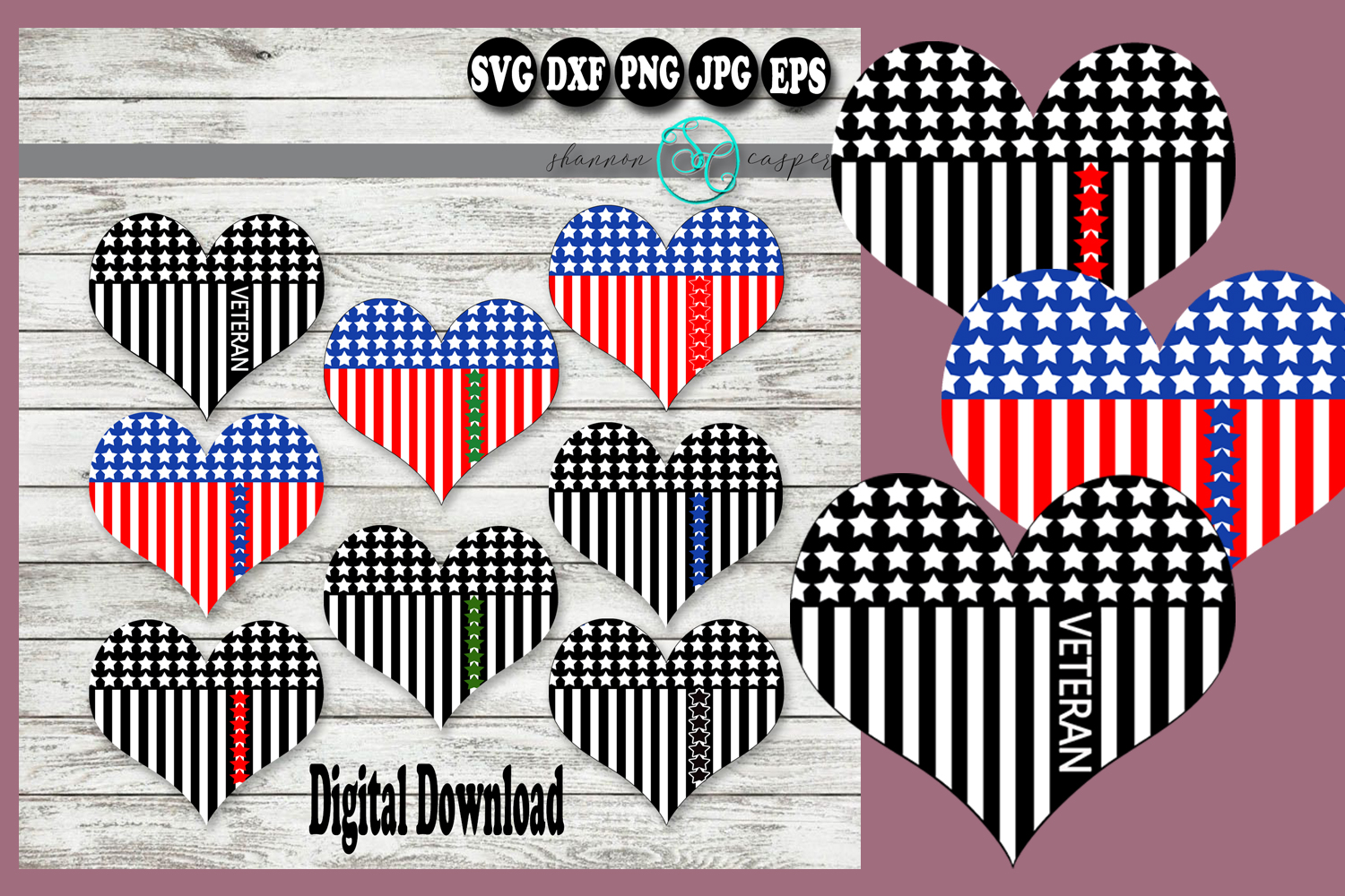 American Flag Heart Military Branch Color Veteran example image 1