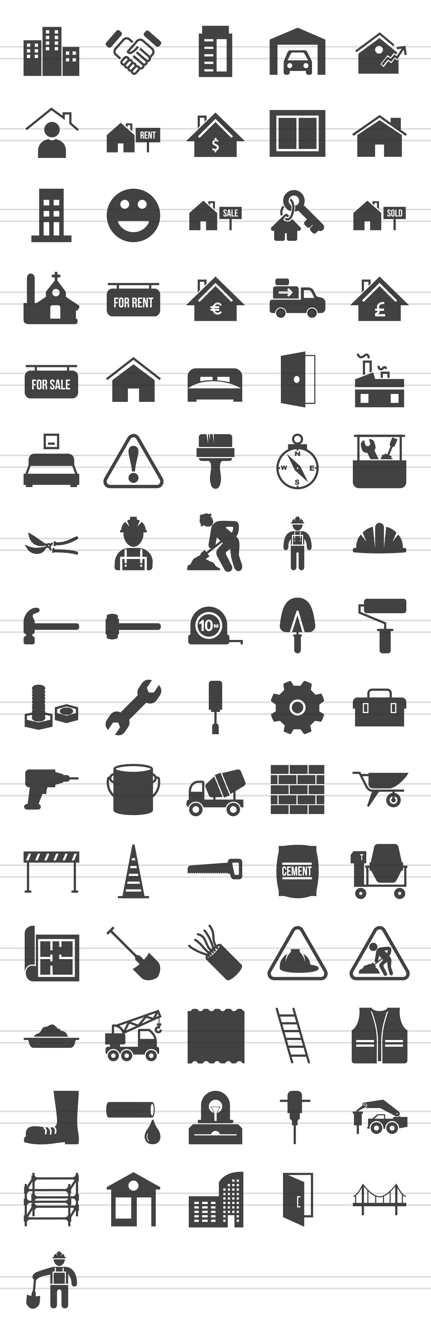 76 Construction Glyph Icons example image 2