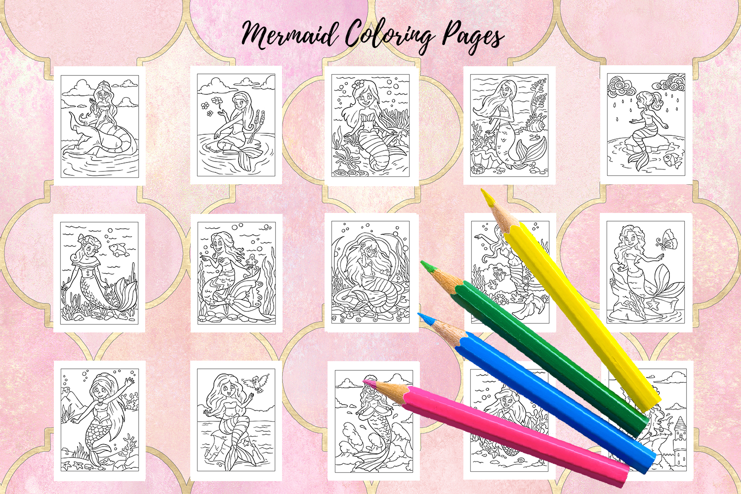 Coloring Pages For Kids - 15 Mermaid Coloring Pages example image 2