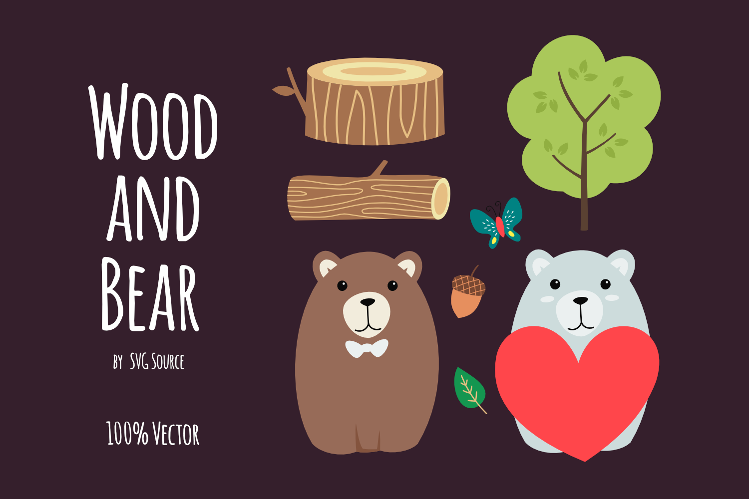 Wood and Bear SVG example image 1