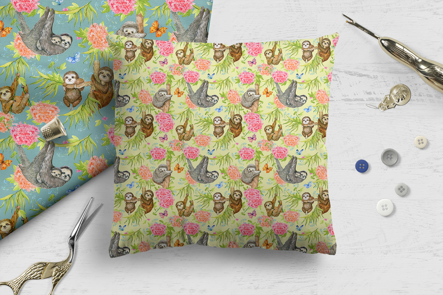 Sloths Seamless patterns example image 4