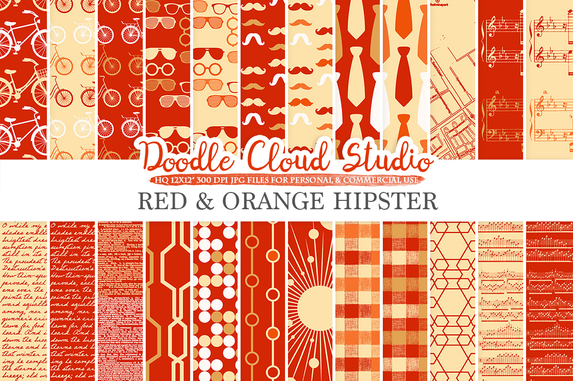 Red and Orange Hipster digital paper, Gold Vintage Father's day tie mustaches bikes music glasses plaid patterns, Personal & Commercial Use example image 1