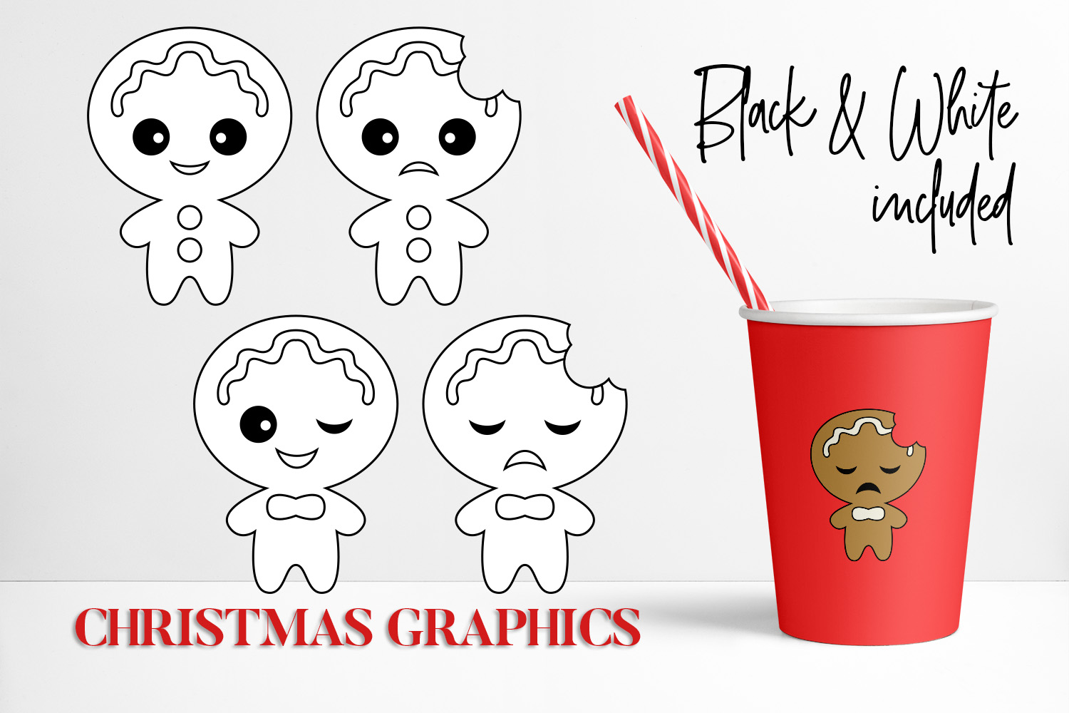Bundle - Christmas ornaments and Gingerbread Graphics example image 3