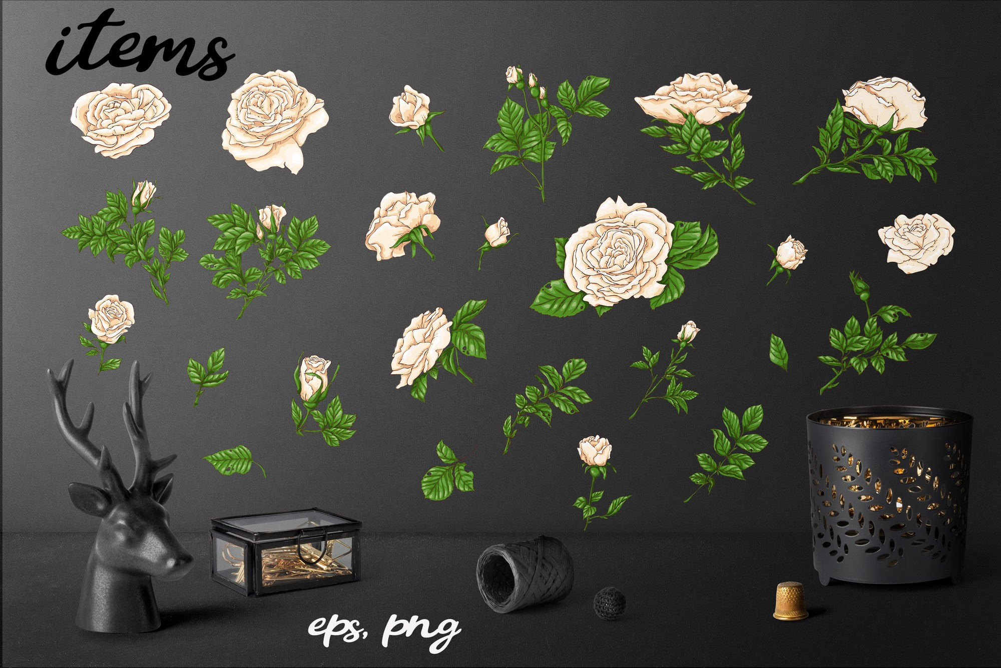 Roses – Vector Clip Art Set example image 7