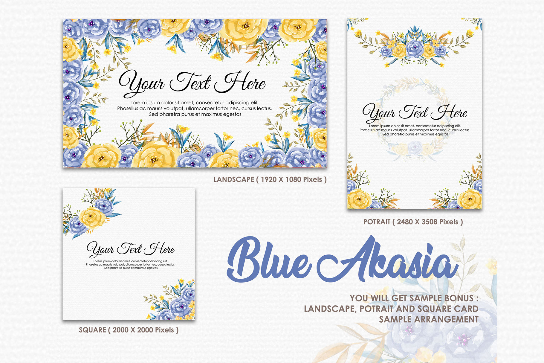 Blue Akasia - Digital Watercolor Floral Flower Style Clipart example image 4