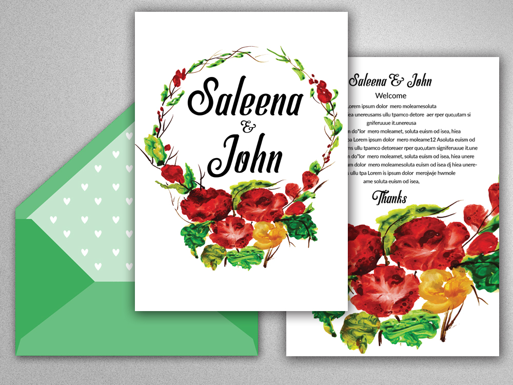 Double Sided Floral Save The Date Card example image 2