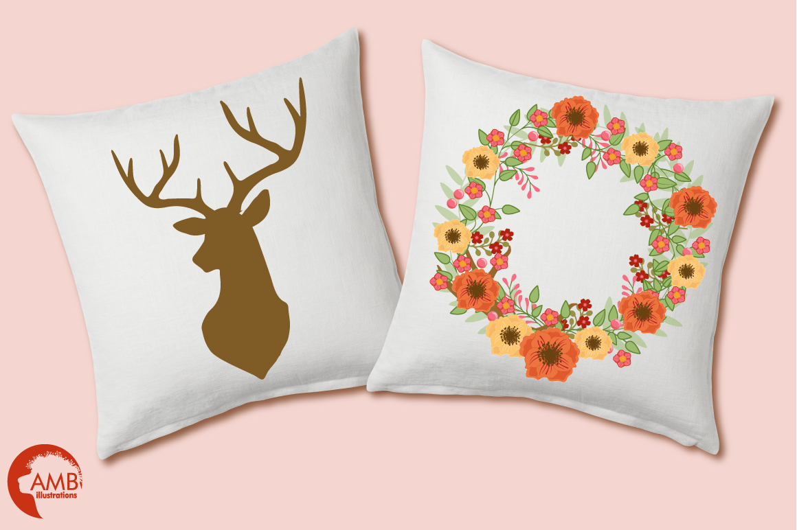 Autumn Antlers and Florals cliparts, graphics and illustrations AMB-1488 example image 2
