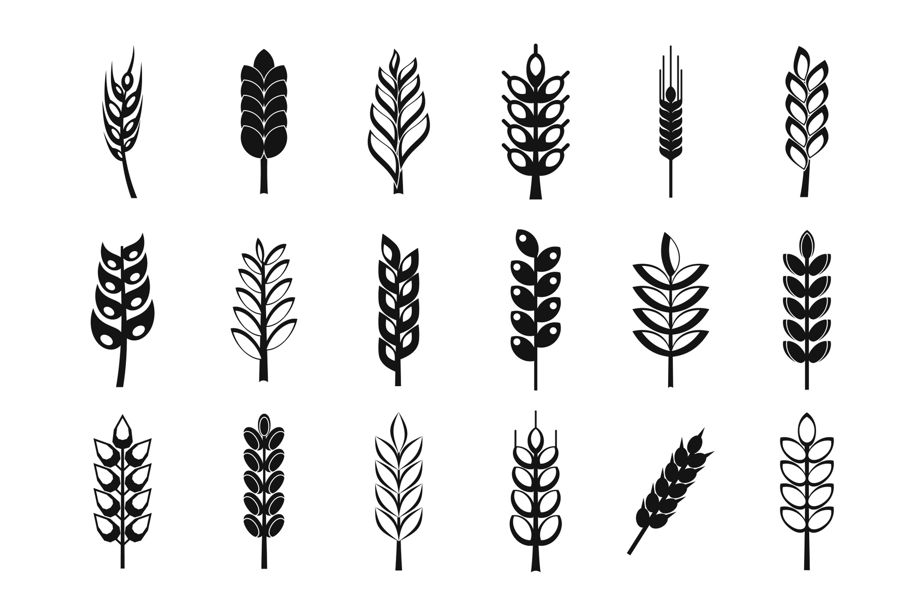 Wheat icon set, simple style example image 1