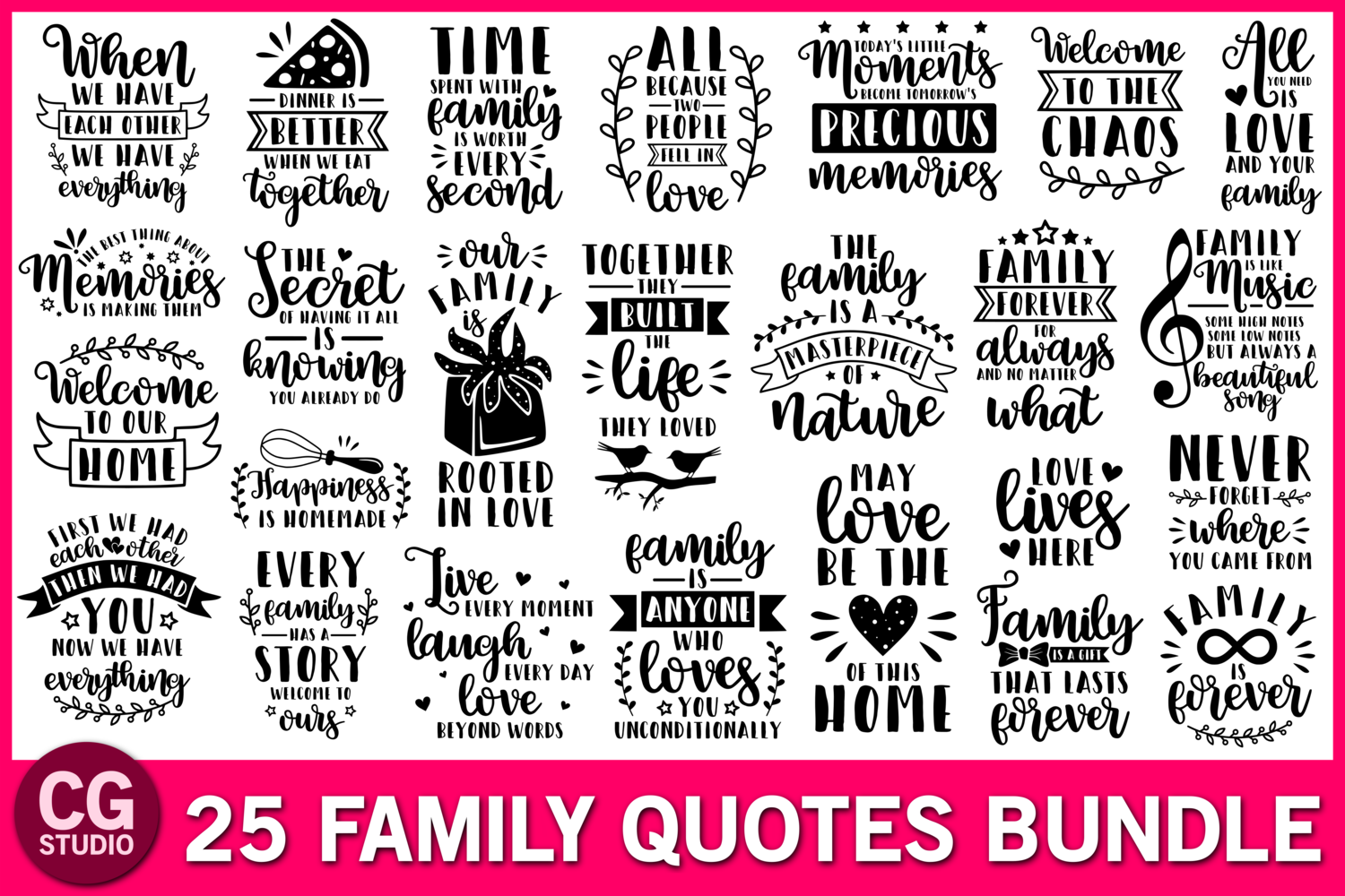 Family svg bundle, family quotes svg, home svg, love svg example image 1