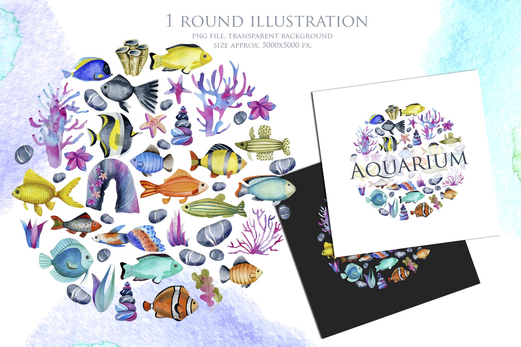 Sea life. Watercolor clip art. example image 5