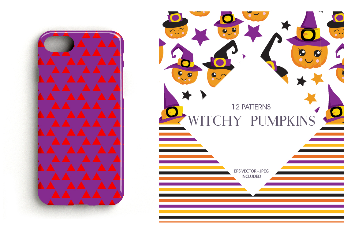Witchy Halloween Pumpkins Pattern collection, vector ai, eps example image 4