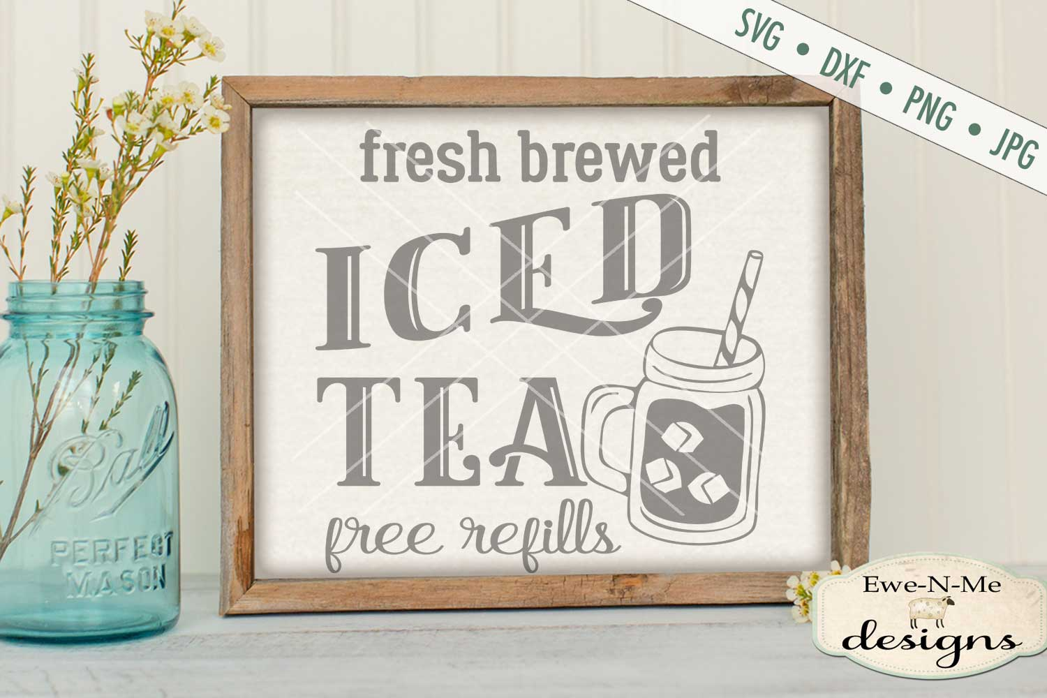 Fresh Brewed Iced Tea SVG DXF Files example image 1