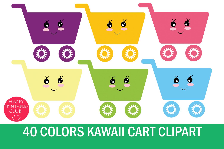 Kawaii Cart Clipart-Shopping Cart Clipart Graphics example image 1