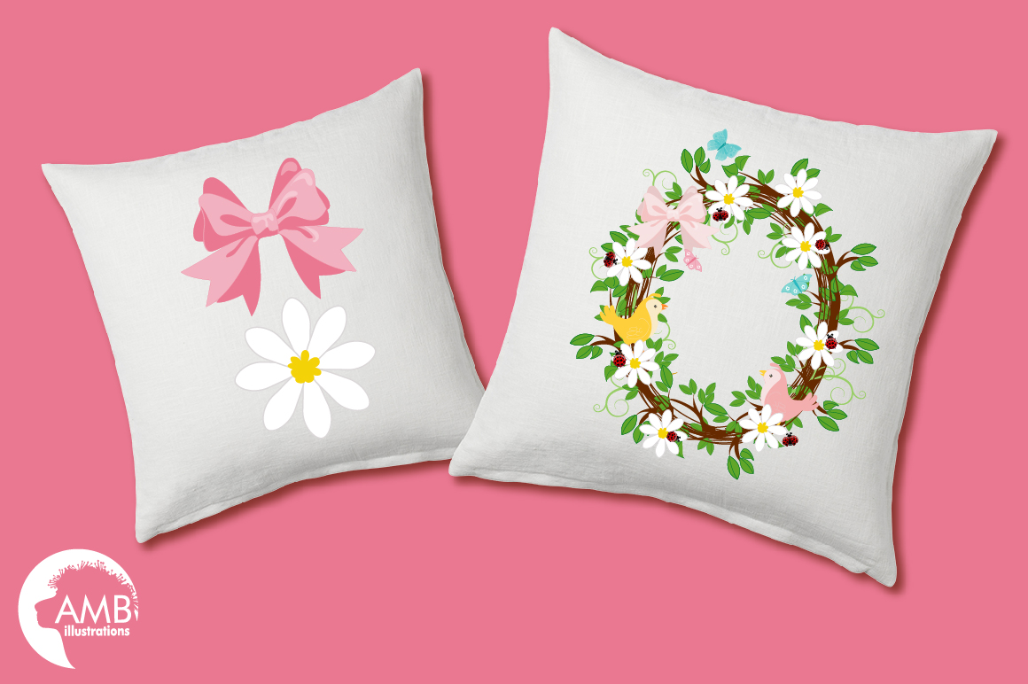 Baby girl shower, Floral wreath clipart example image 5