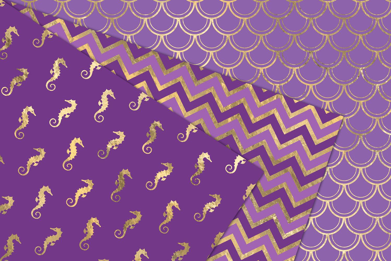 Purple and Gold Mermaid Digital Paper example image 5