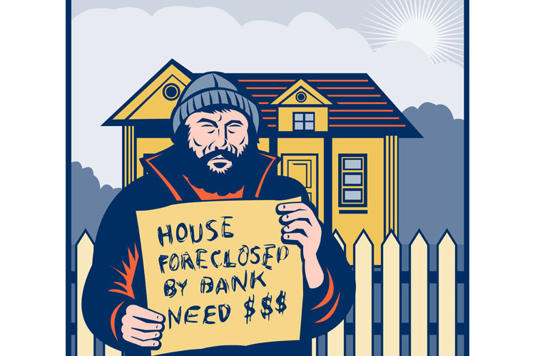 Homeless man or hobo sign foreclosed house example image 1