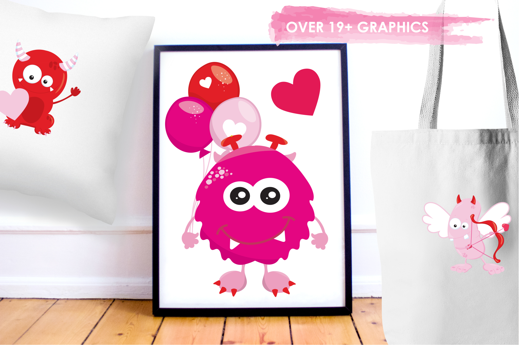 Valentine Monsters graphics and illustrations example image 5