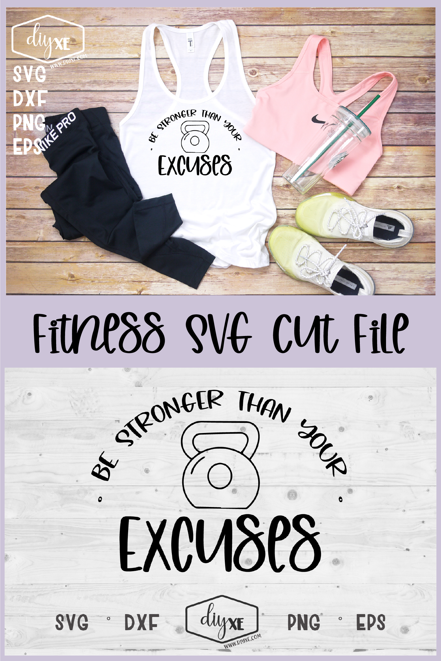 Be Stronger Than Your Excuses - A Fitness SVG Cut File example image 3