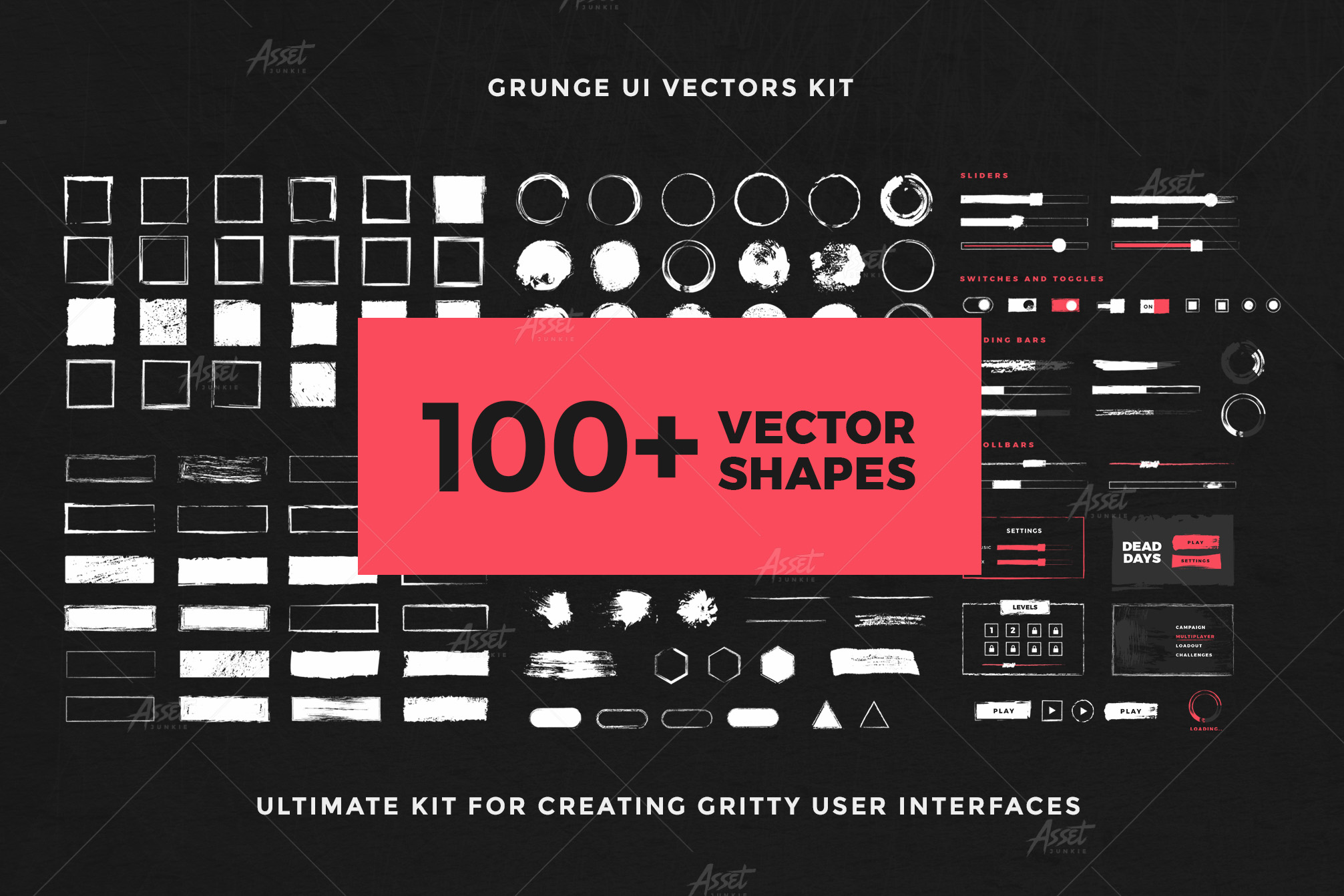 Grunge UI Vectors Kit example image 6