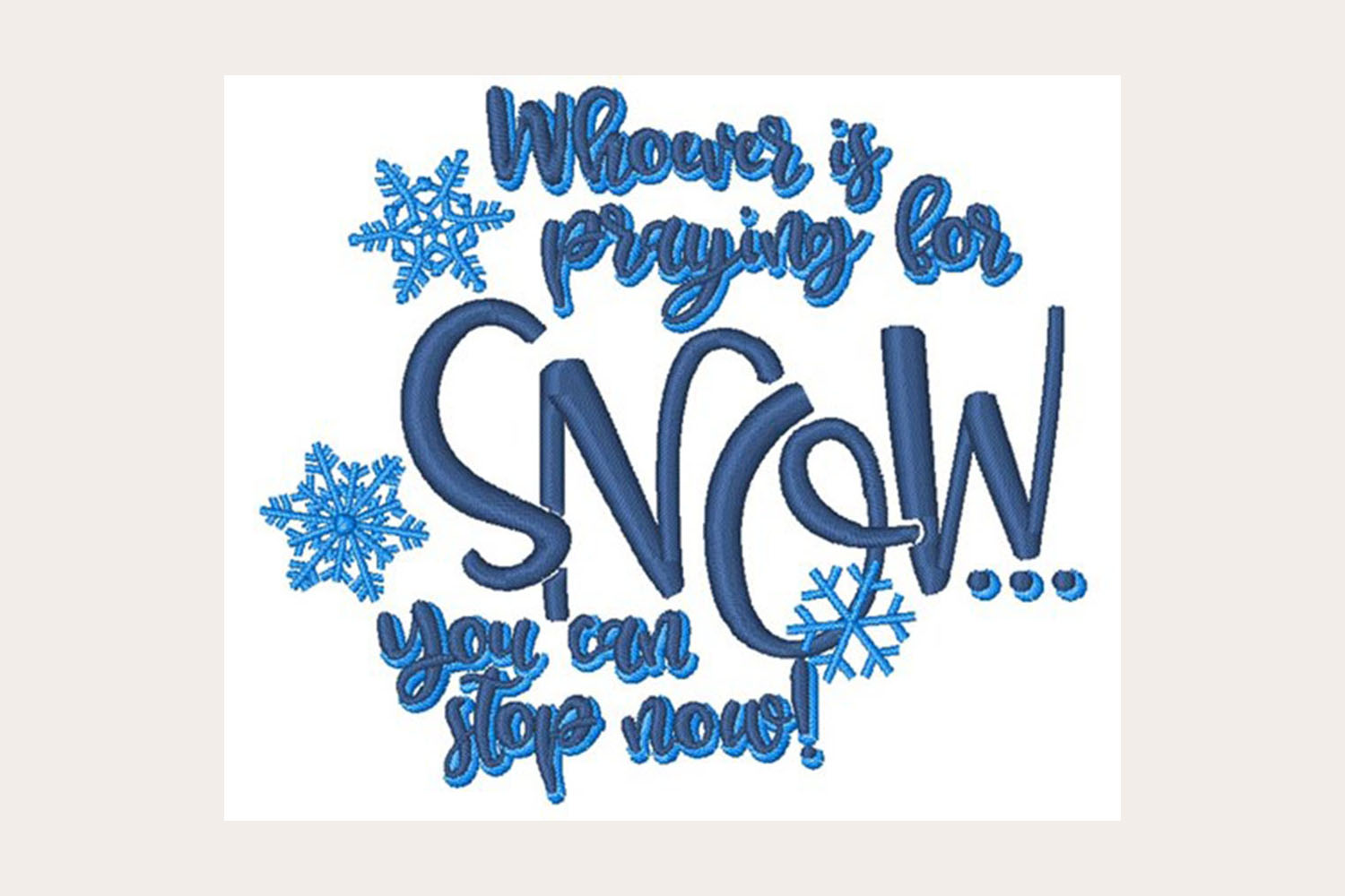 Praying For Snow -Machine Embroidery Design example image 1
