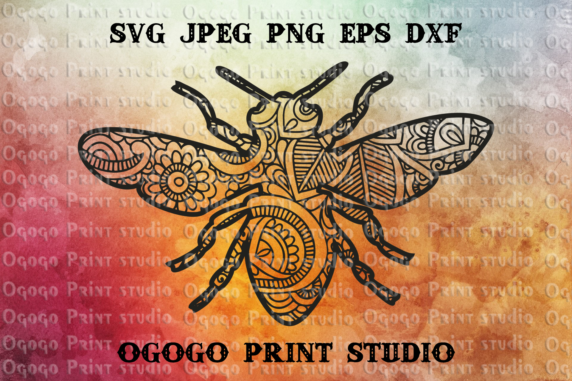 Bee Svg, Insect Svg, Zentangle SVG, Mandala svg, Garden svg example image 1