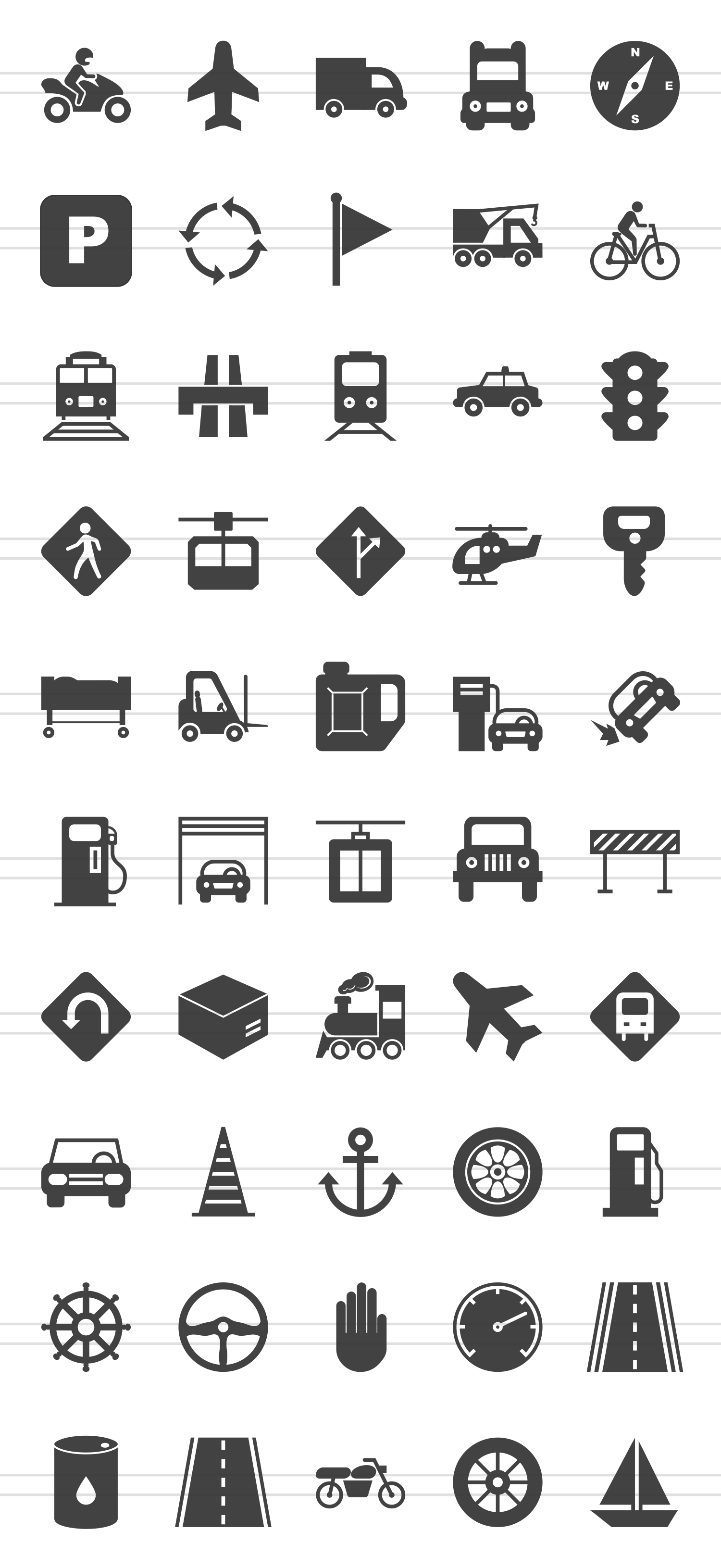 50 Transportation Glyph Icons example image 2