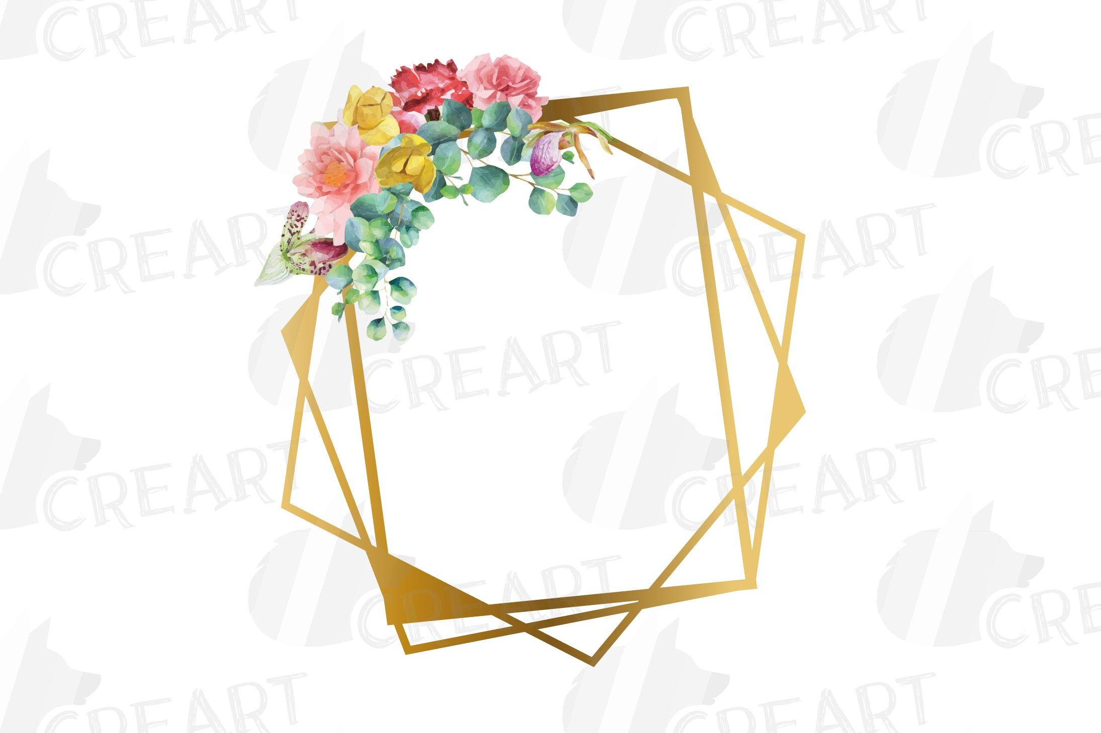 Watercolor floral golden frames and borders clip art pack example image 11