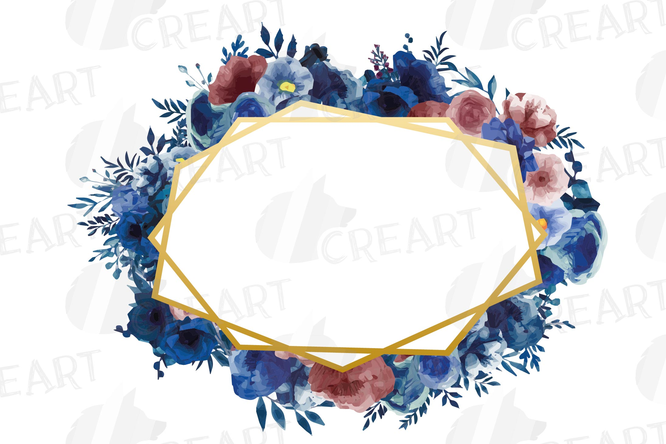 Watercolor elegant navy blue and blush floral borders vector example image 17