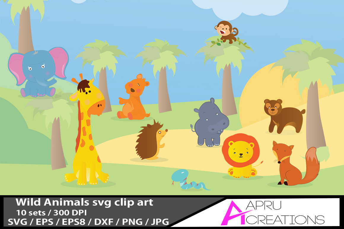 wild animal / cute wild animal vector graphics / animal svg / wild animal eps  / animal doodle example image 1