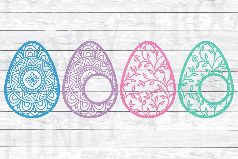 Easter Monogram Frame Bundle - Egg and Bunny SVG Cut Files example image 6