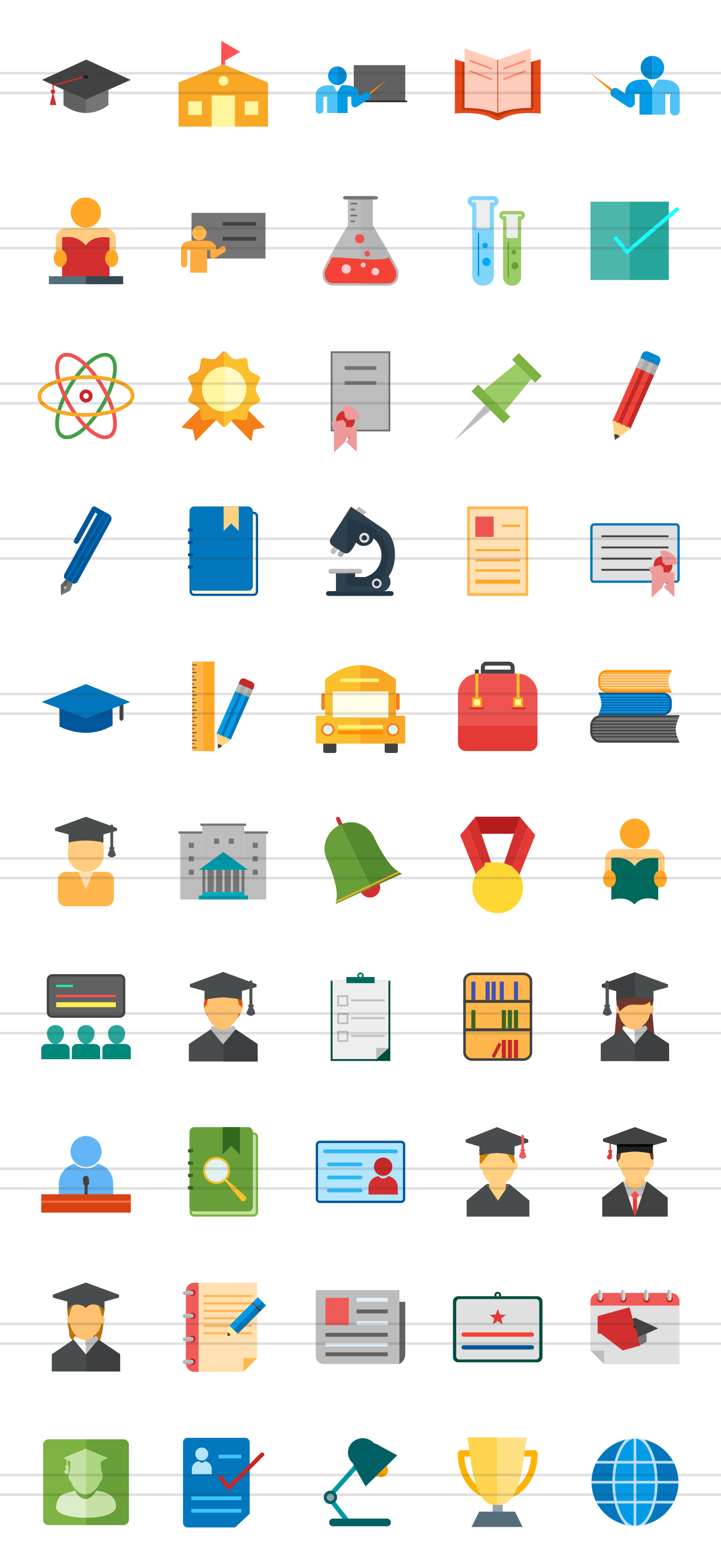 50 Academics Flat Multicolor Icons example image 2