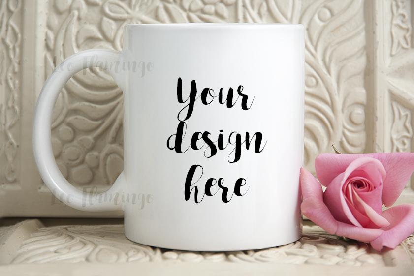 White coffee mug mock up feminine romantic floral valentines cup mockup example image 1