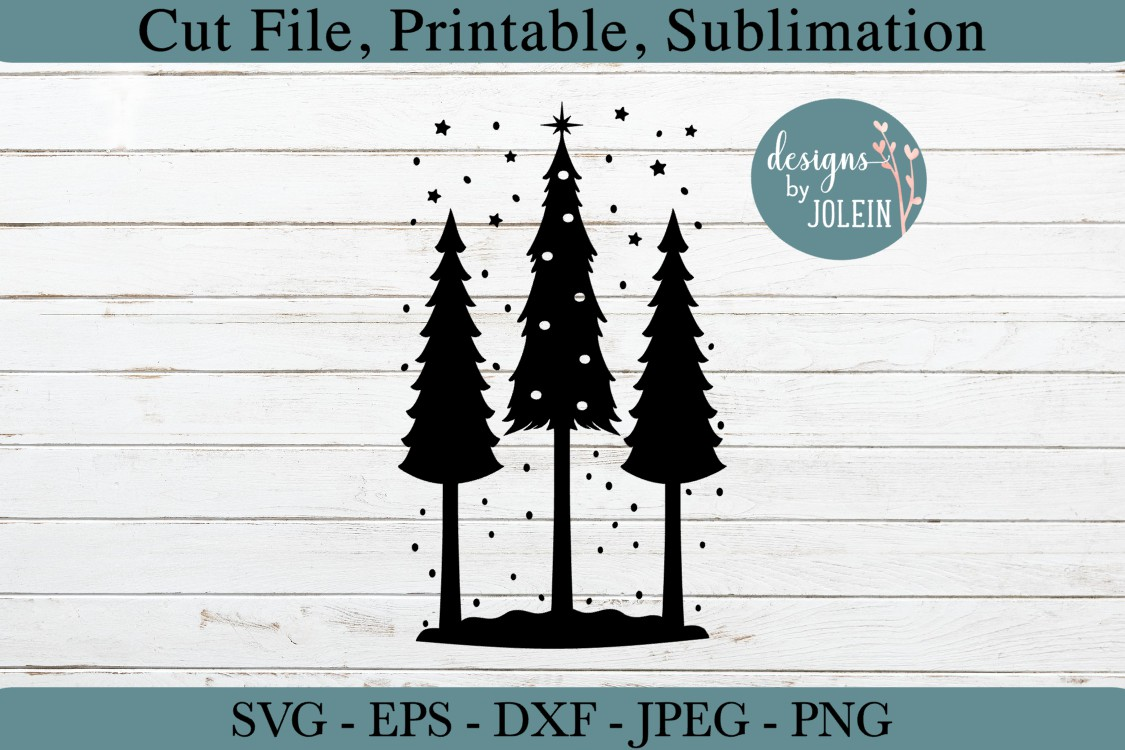 Snowy Christmas Trees SVG, png, eps, DXF, sublimation example image 5