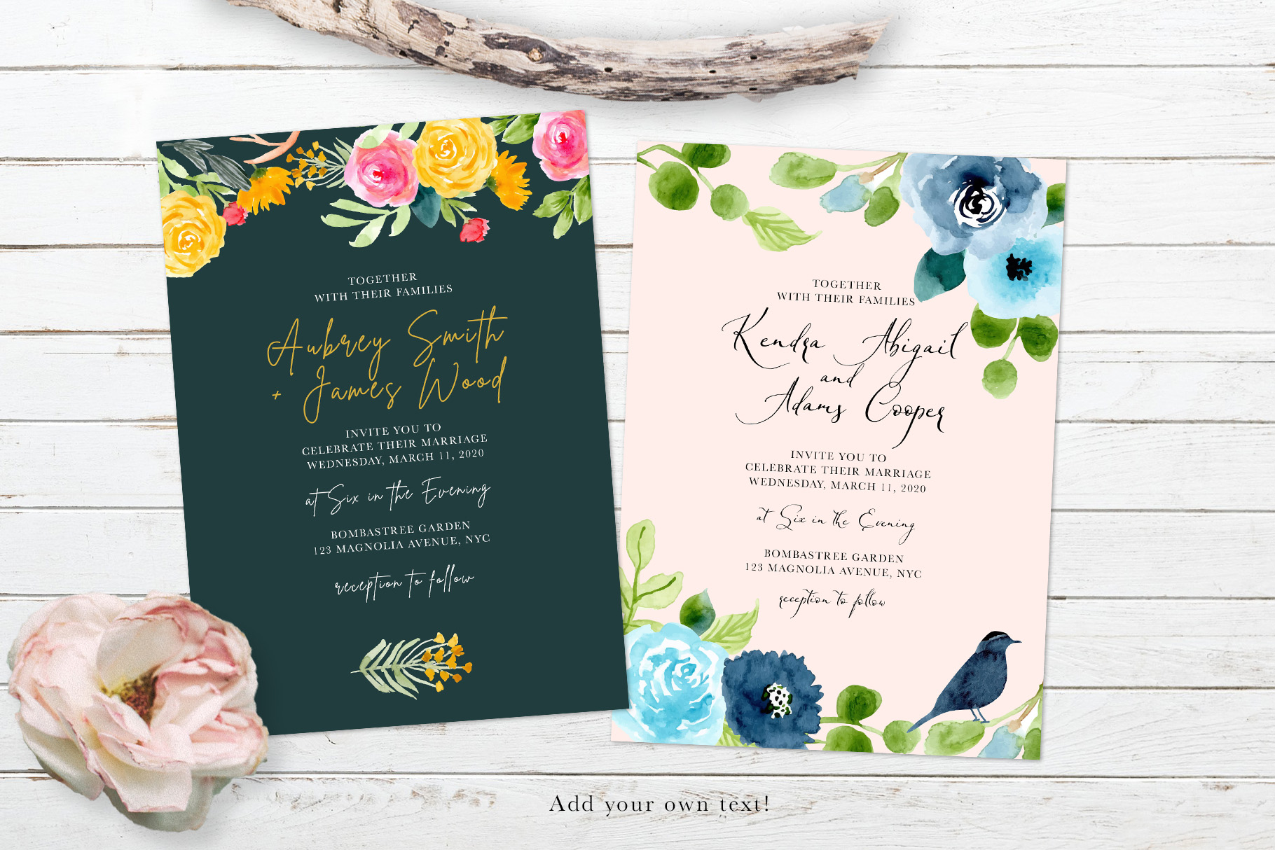 Floral Invitation Backgrounds Vol.3 example image 8