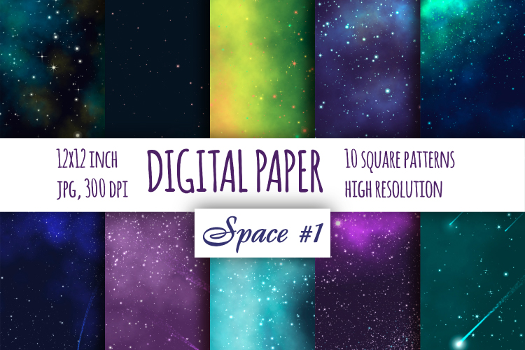 Space Fantastic digital paper. Galaxybright pattern pat.1 example image 1