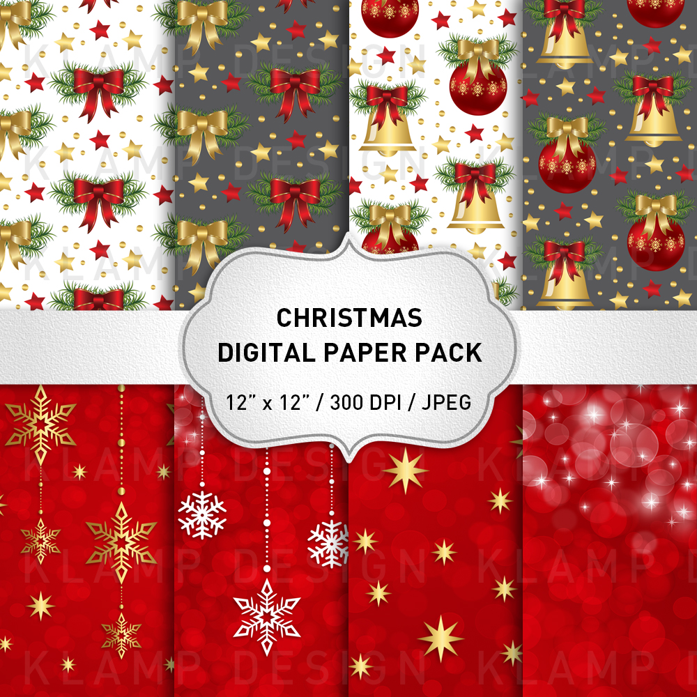 Red and Gold Christmas Digital Paper Pack / Backgrounds / Scrapbooking / Patterns / Printables / Card Making example image 1